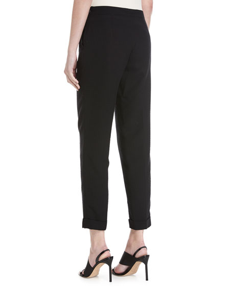 Manuela Seersucker Cropped Pants, Black