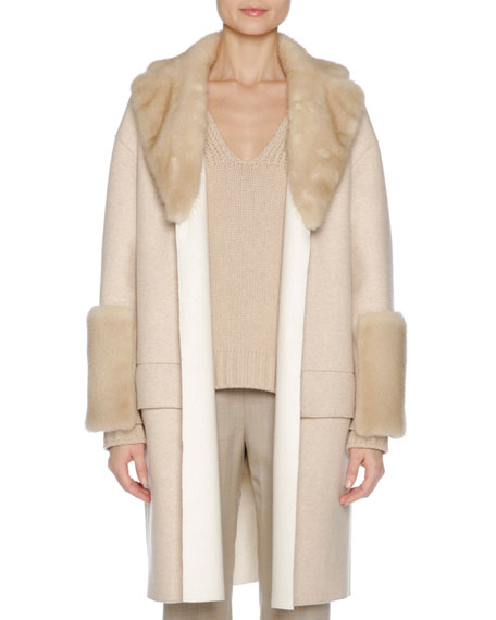 Agnona Relaxed Cashmere Coat with Mink Fur Trim,