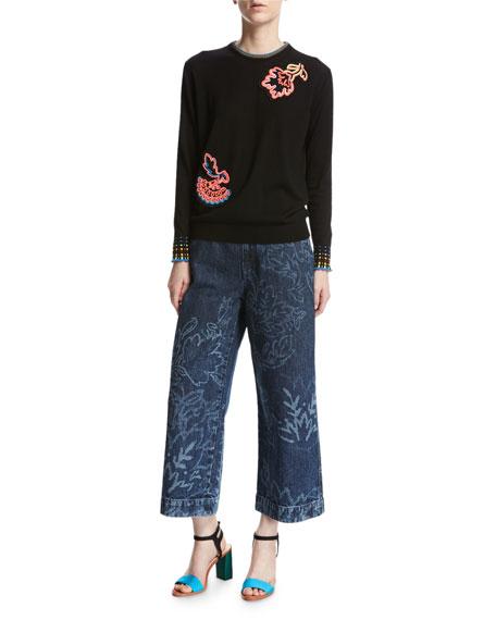 Floral Wide-Leg Culotte Jeans, Navy