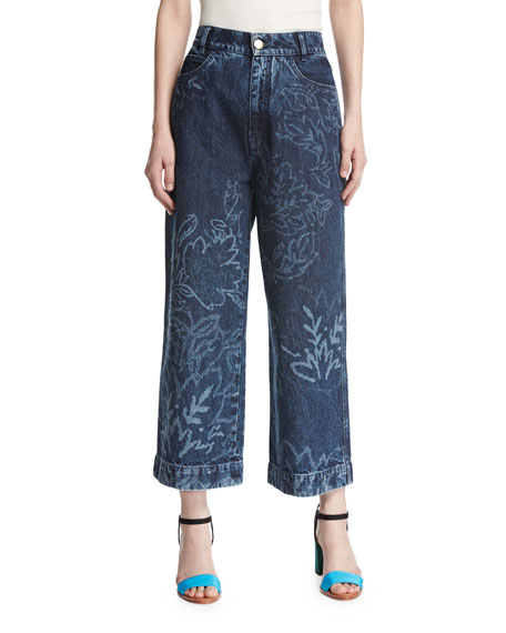 Peter Pilotto Floral Wide-Leg Culotte Jeans, Navy and
