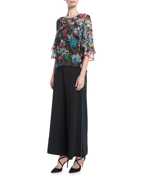 Wide-Leg Culottes with Contrast Piping