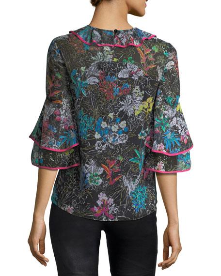 Botanical Floral-Print Silk Top
