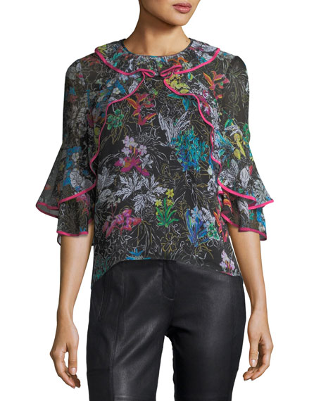 Botanical Floral-Print Silk Top