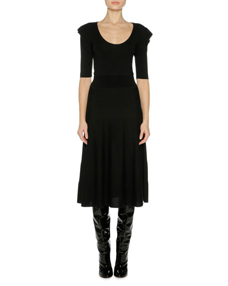 Agnona Fine Wool Ruffle-Shoulder Midi Dress, Black