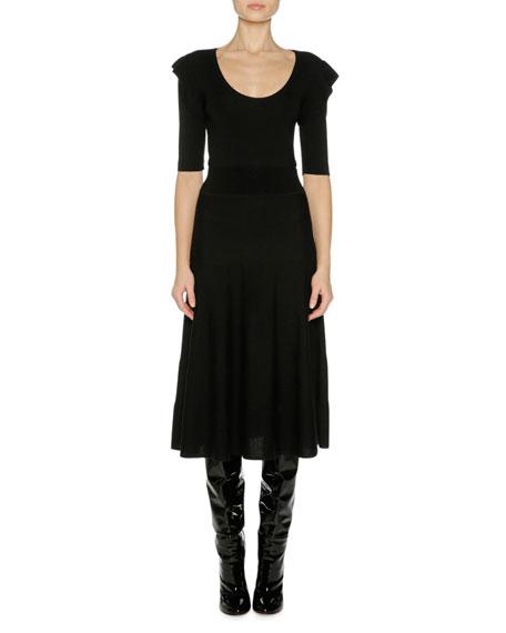Fine Wool Ruffle-Shoulder Midi Dress