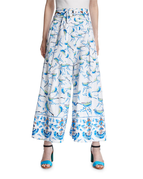 Peter Pilotto Bird-Print Belted Palazzo Pants, White