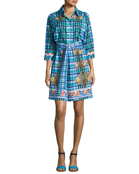 Peter Pilotto Floral Plaid Belted Shirtdress, Blue