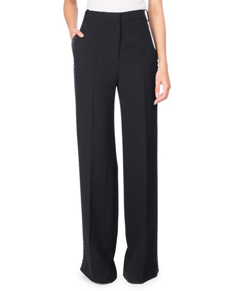 Victoria Victoria Beckham Rickrack Tuxedo-Stripe Wide-Leg Pants