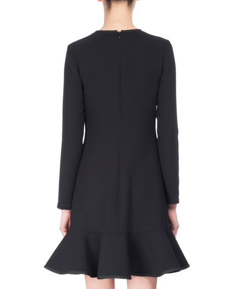 Long-Sleeve Flounce Dress, Black