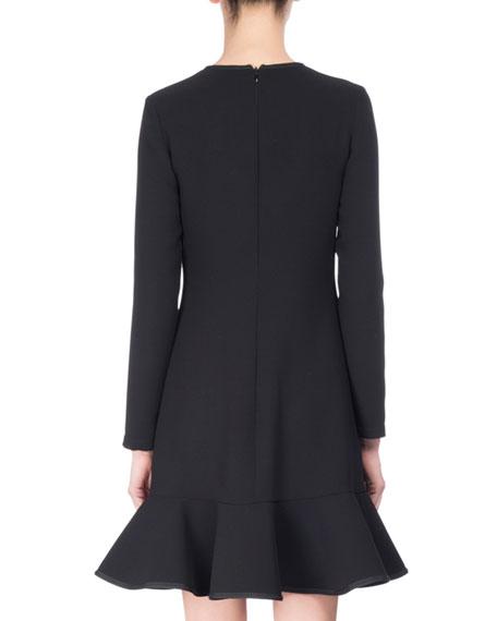 Long-Sleeve Flounce Dress, Black