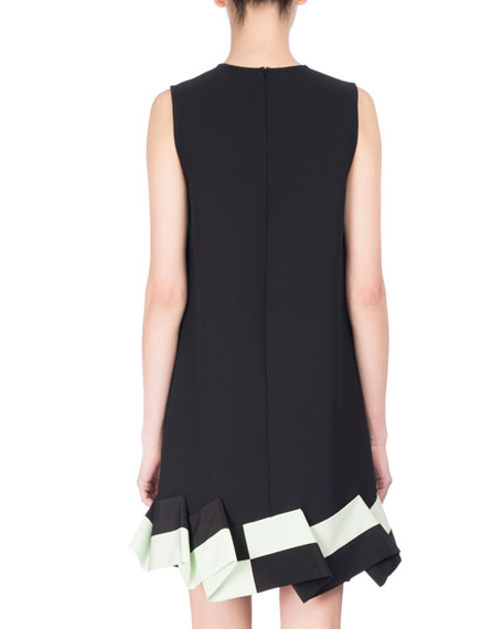 Sleeveless Two-Tone Ruffle-Hem Dress, Black/Green