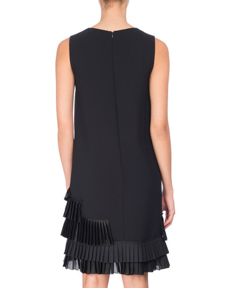U-Neck Shift Dress with Pleated Ruffle Hem