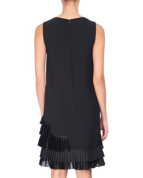 U-Neck Shift Dress with Pleated Ruffle Hem, Black