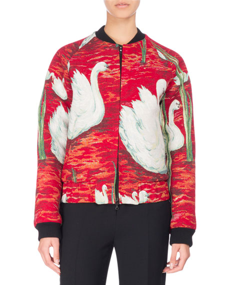 Swan Tapestry Bomber Jacket, Red/Multicolor