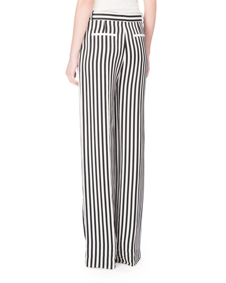 Flat-Front Striped Pajama-Style Pants, Black/White