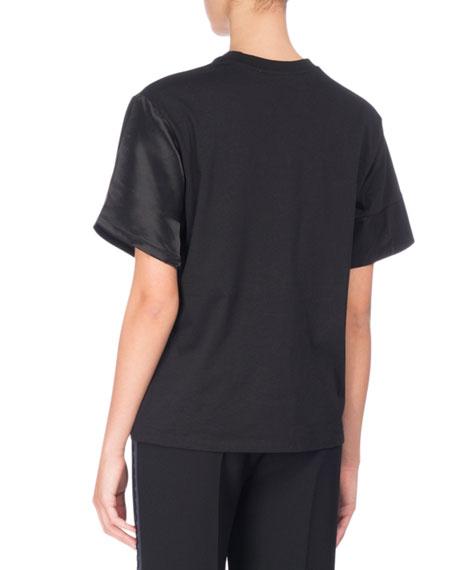 Tonal Satin & Jersey Patchwork T-Shirt, Black