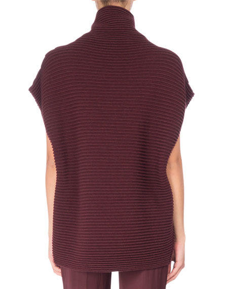 Short-Sleeve Ribbed Merino Wool Tunic, Red