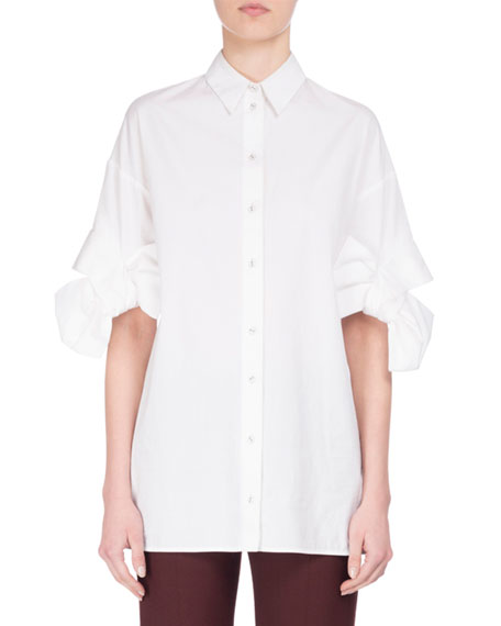 Bow-Cuff Cotton Shirt, White