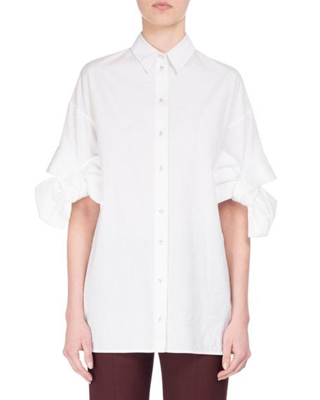 Bow-Cuff Cotton Shirt