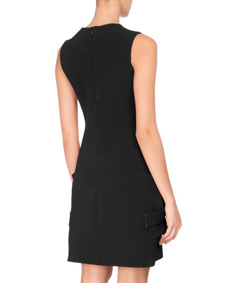 Sleeveless Patch-Pocket Minidress, Black