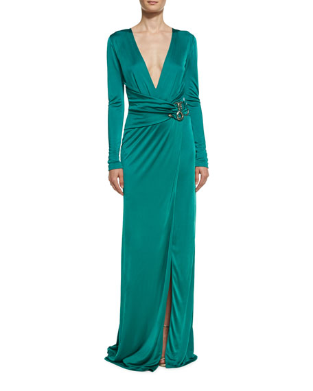Snake-Pendant Plunging V Gown, Turquoise