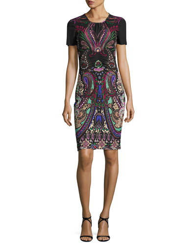 Magic Carpet Short-Sleeve Sheath Dress, Black