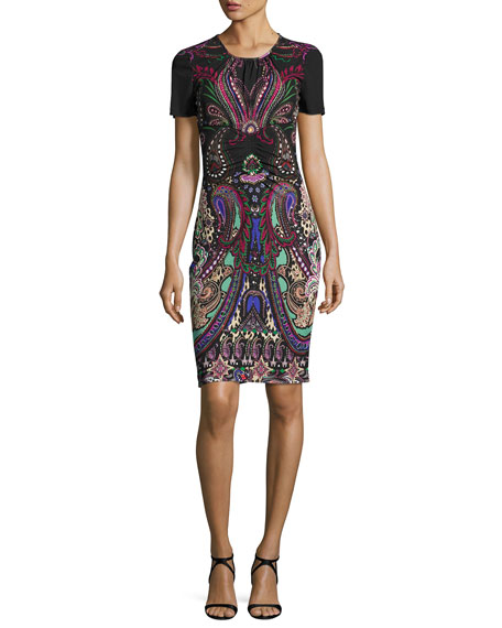 Roberto Cavalli Magic Carpet Short-Sleeve Sheath Dress, Black