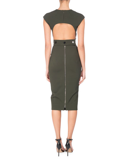 Open-Back Cap-Sleeve Sheath Dress, Forest