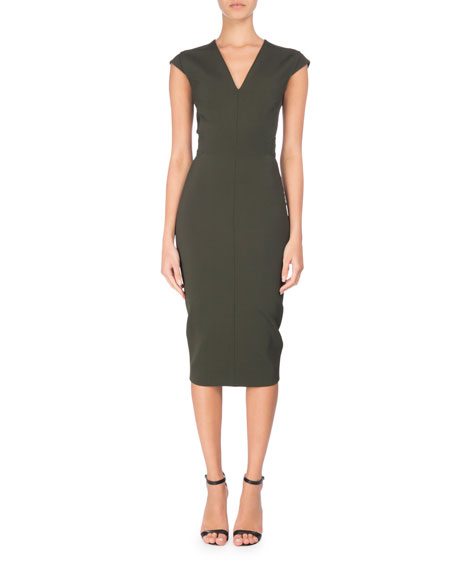 Open-Back Cap-Sleeve Sheath Dress, Forest