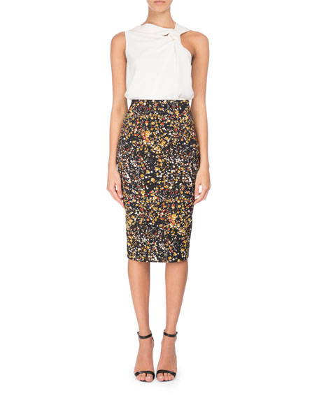 Marble-Print Pencil Skirt, Black