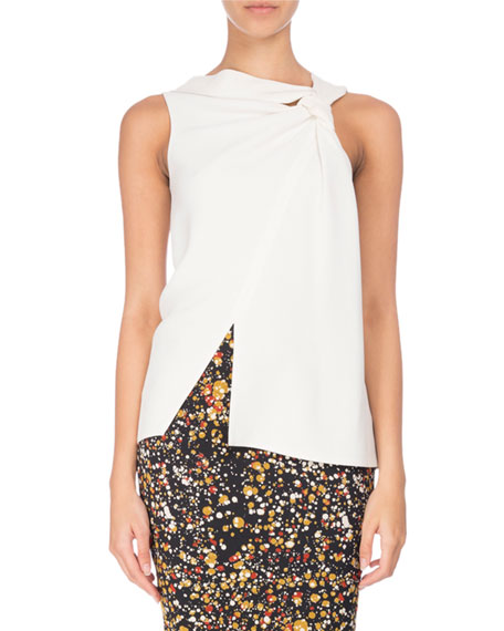 Sleeveless Knot-Front Asymmetric Top, Ivory