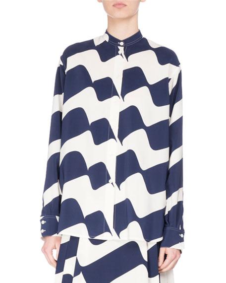 Wave-Print Silk Band-Collar Shirt, Blue/White