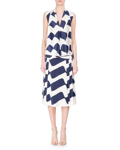 Sleeveless Draped Wave-Print Silk Top, Blue/White