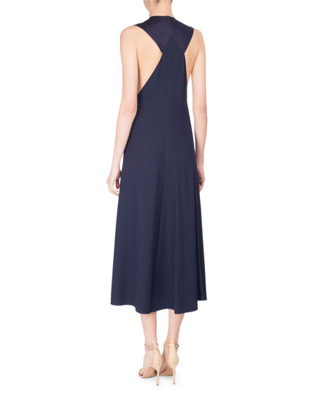 Bias-Cut Two-Tone Sleeveless Midi Dress, Blue