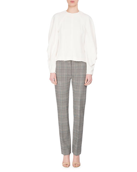 Prince of Wales Plaid Flat-Front Slim Pants, White