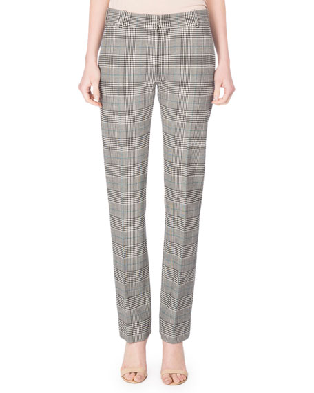 Victoria Beckham Prince of Wales Plaid Flat-Front Slim