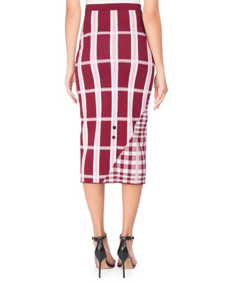 Mixed Plaid Knit Pencil Skirt, Pink