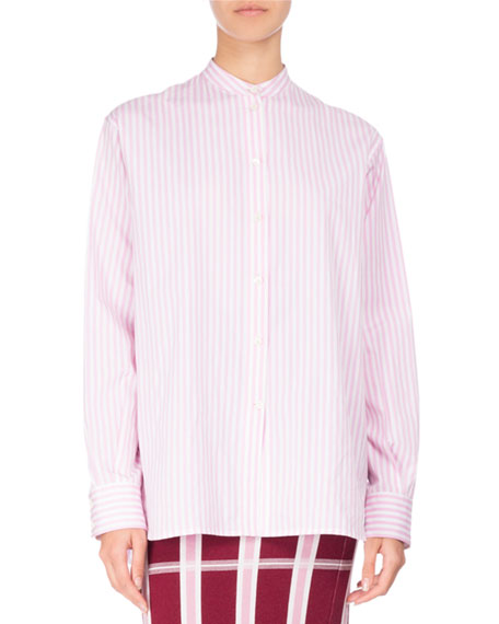 Candy-Stripe Band-Collar Cotton Shirt, White/Pink