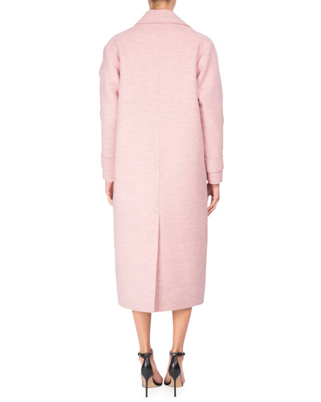 Virgin Wool Open-Front Duster Coat, Light Pink