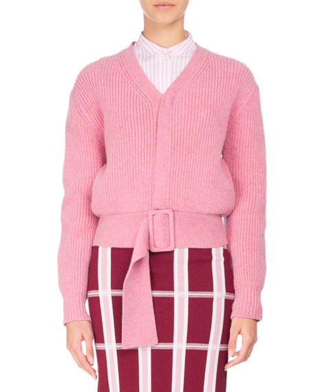 Ribbed Wool Faux-Cardigan Sweater with Belt, Pink
