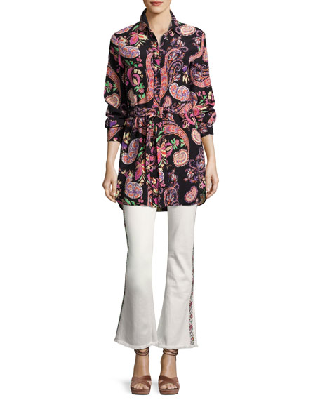 Paisley Silk Belted Tunic, Black
