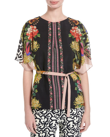 Etro Floral & Geometric-Print Silk Tunic, Pink/Multicolor and