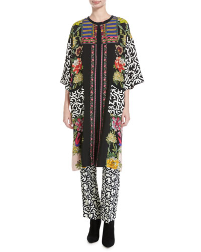Floral & Geometric-Print Viscose Topper Coat, Pink/Multicolor