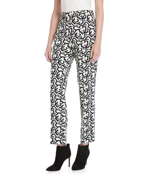 Etro Puzzle-Print Slim-Straight Pants, Black Pattern
