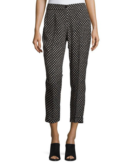 Etro Dot-Print Slim Cropped Pant, Black/White Pattern