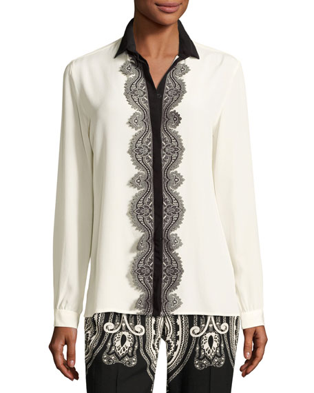 Etro Paisley Lace-Trim Silk Blouse, White and Matching