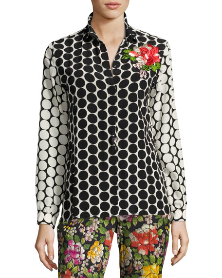 Etro Floral-Embroidered Silk Dot Blouse, Black and Matching