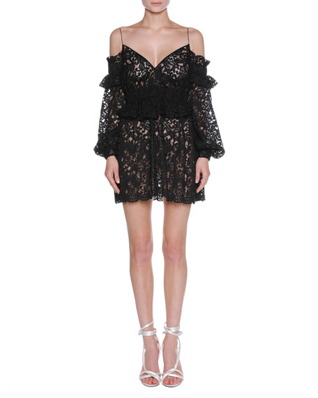 Floral Lace Cold-Shoulder Peplum Minidress, Black