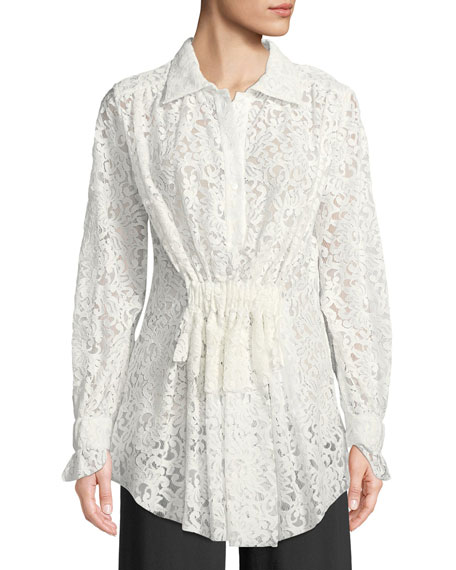 Francesco Scognamiglio Long-Sleeve Gathered-Waist Floral Lace Blouse