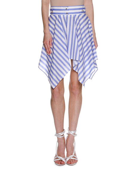Francesco Scognamiglio Striped Handkerchief-Hem Skirt, White and